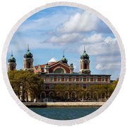 Round Beach Towel featuring the photograph Ellis Island by Eleanor Abramson