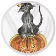 Elma's Pumpkin Round Beach Towel by Teresa White