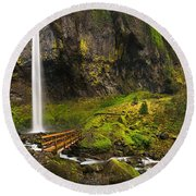 Elowah Falls Panorama -  Columbia River Gorge In Oregon Round Beach Towel