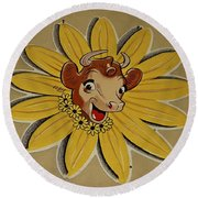 Elsie The Borden Cow  Round Beach Towel by Chris Berry