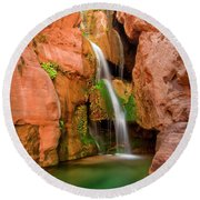 Elves Chasm Waterfall, Grand Canyon Round Beach Towel