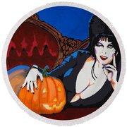 Elvira Dark Mistress Round Beach Towel by Dale Loos Jr