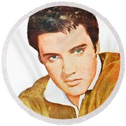 Elvis Colored Portrait Round Beach Towel
