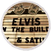 Elvis Is In Round Beach Towel by David Lee Thompson