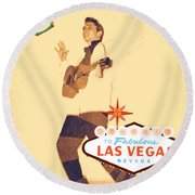 Round Beach Towel featuring the mixed media Elvis On Tv by Michelle Dallocchio