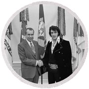 Elvis Presley And Richard Nixon-featured In Men At Work Group Round Beach Towel