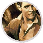 Elvis Presley Artwork Round Beach Towel by Sheraz A