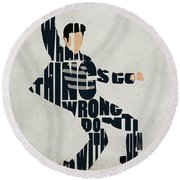 Elvis Presley Round Beach Towel by Ayse Deniz