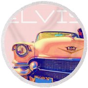 Elvis Presley Pink Cadillac Round Beach Towel