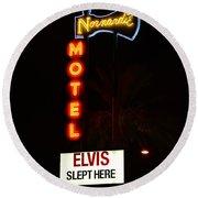Elvis Slept Here Round Beach Towel