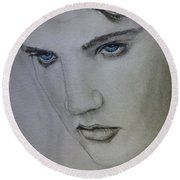 Round Beach Towel featuring the painting Elvis's Blue Eyes by Kelly Mills
