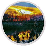 Round Beach Towel featuring the photograph Emagin Sunset by Daniel Thompson