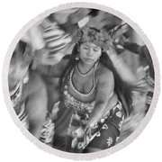 Embera Villagers In Panama As Black And White Round Beach Towel