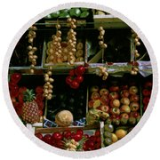 Glowing Paris Fruit Display Round Beach Towel
