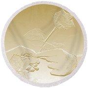 Embossed Gold Rose By Jan Marvin Studios Round Beach Towel