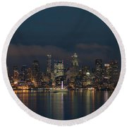 Emerald City At Night Round Beach Towel by E Faithe Lester
