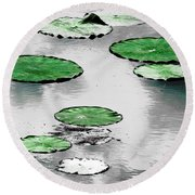 Emerald Green Lotus Leaves Round Beach Towel