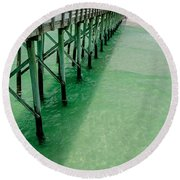 Round Beach Towel featuring the photograph Emerald Green Tide  by Susan  McMenamin