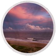 Emerald Isle Sunset Round Beach Towel