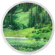 Emerald Lake Round Beach Towel