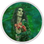 Emerald Universe Round Beach Towel by Michael Rucker