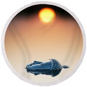 Emerging Buddha Round Beach Towel