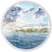 Emerging Sun  Round Beach Towel