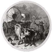 Emigration To The Western Country, Engraved By Bobbett Engraving Bw Photo Round Beach Towel