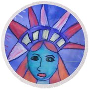 Emma's Lady Liberty Round Beach Towel