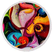 Modern Colorful Abstract  Round Beach Towel