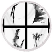 Emotions In Black - Abstract Quad Round Beach Towel