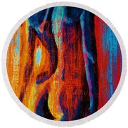 Round Beach Towel featuring the painting Emotive by Michael Cross