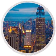 Empire State Blue Night Round Beach Towel by Inge Johnsson