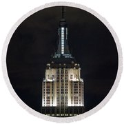 Empire State Building At Night Round Beach Towel