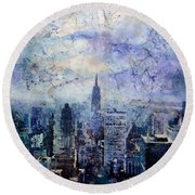 Empire State Building In Blue Round Beach Towel