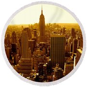 Manhattan And Empire State Building Round Beach Towel