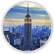 Empire State Building New York City Usa Round Beach Towel