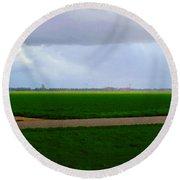 Round Beach Towel featuring the digital art Empty Green by Luc Van de Steeg