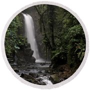 Encantada Waterfall Costa Rica Round Beach Towel