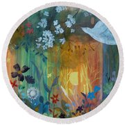 Round Beach Towel featuring the painting Encantador by Robin Maria Pedrero