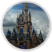 Enchanted Castle Round Beach Towel