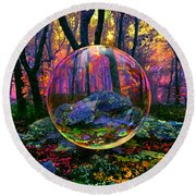 Round Beach Towel featuring the painting Enchanted Forest by Robin Moline