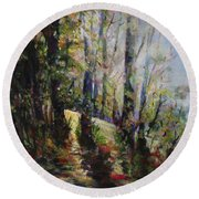 Round Beach Towel featuring the painting Enchanted Forest by Sher Nasser