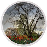 Round Beach Towel featuring the photograph Enchanted Garden by Eti Reid