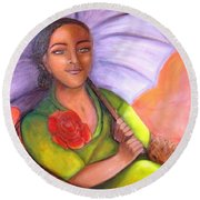 Enchanted Rose Round Beach Towel