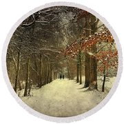 Enchanting Dutch Winter Landscape Round Beach Towel