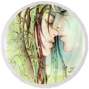 Encounter  From Love Angels Series Round Beach Towel