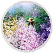 Round Beach Towel featuring the painting End Of May by Kume Bryant