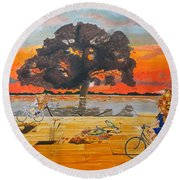 Round Beach Towel featuring the painting End Of Season Habits Listen With Music Of The Description Box by Lazaro Hurtado