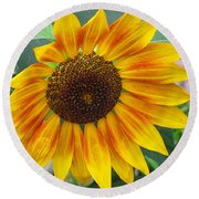 End Of Summer Sunflower Round Beach Towel
